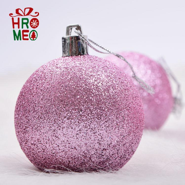 Hromeo 6cm8cm10cm 30cm glitter pink christmas ball ball ball wedding mall ceiling decoration pendant