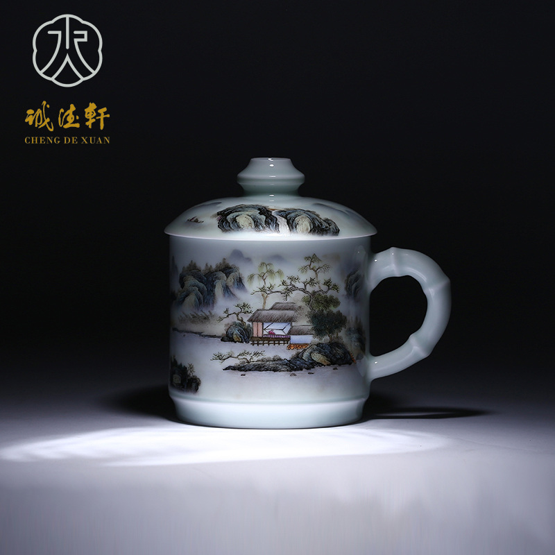 Hsuan tsang tak jingdezhen hand painted pastel tea cup with lid office tea cup 2 7å·high nanhu boutique stalls spring
