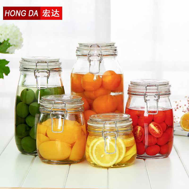 Htc 5 sets of unleaded thick glass jar sealed cans of honey lemon enzyme snaps bottles kitchen food grains tank