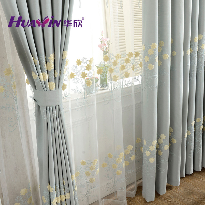 Hua hin upscale korean pastoral cotton embroidered curtains finished shading windows and gauze curtains custom living room bedroom children