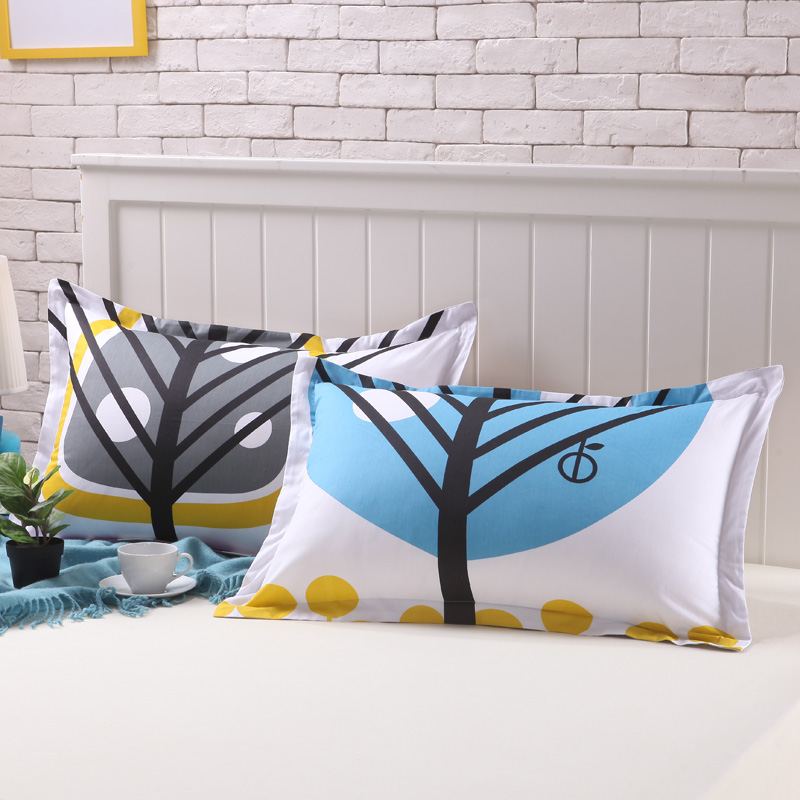 Hua jintian new cotton twill pillow one pair of 74cm cotton cartoon cotton pillow cover one pair of 48
