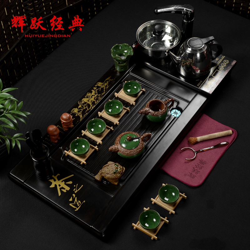 Hui yue classic celadon ceramic kung fu tea set special package binglie ru tea tray cooker eight horses