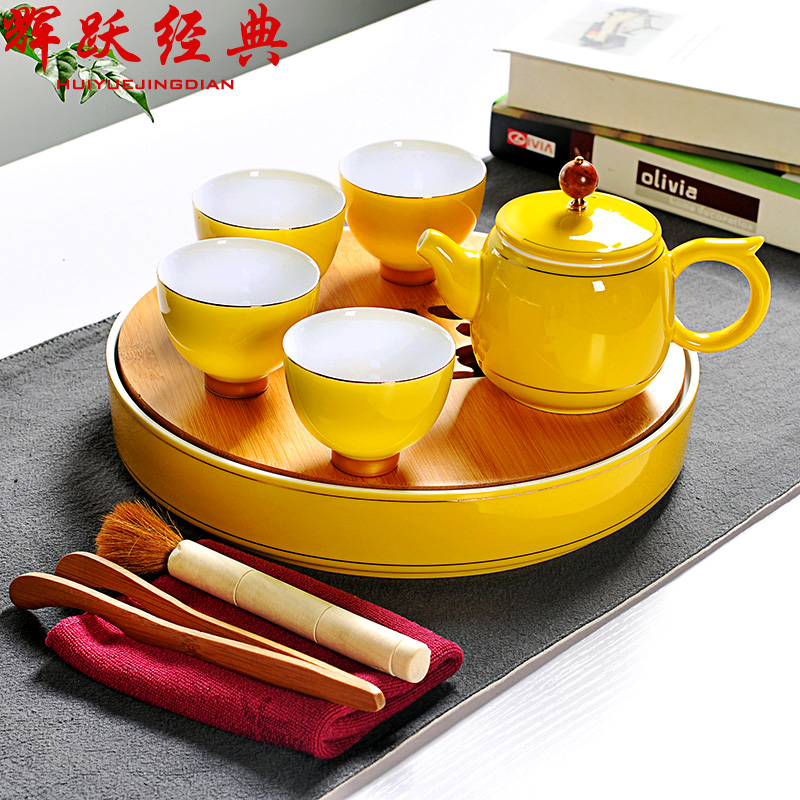 Hui yue classic ceramic water storage tray bamboo tea tray dry foam tray tea sets entire kung fu tea set