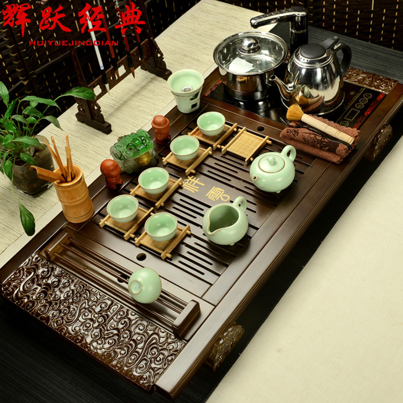 Hui yue classic purple kung fu tea set special package ru four cooker wood tea tray