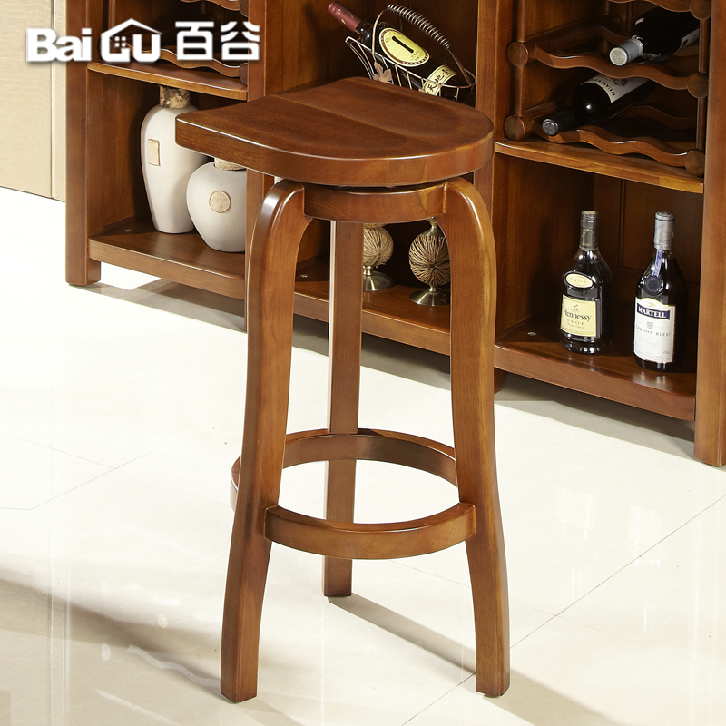 Hundred valleys walnut solid wood chinese furniture modern minimalist bar stool wood bar stool bar chair v41