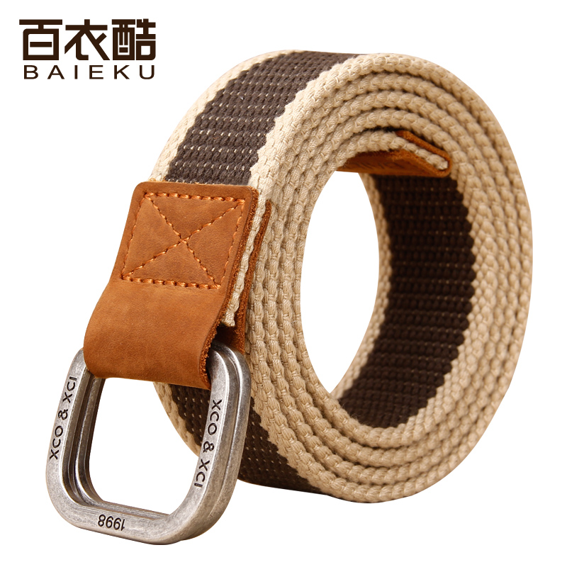 Hundreds of clothing cool double loop buckle canvas belt men's canvas belt lengthen belt jeans korean version of the influx of young students