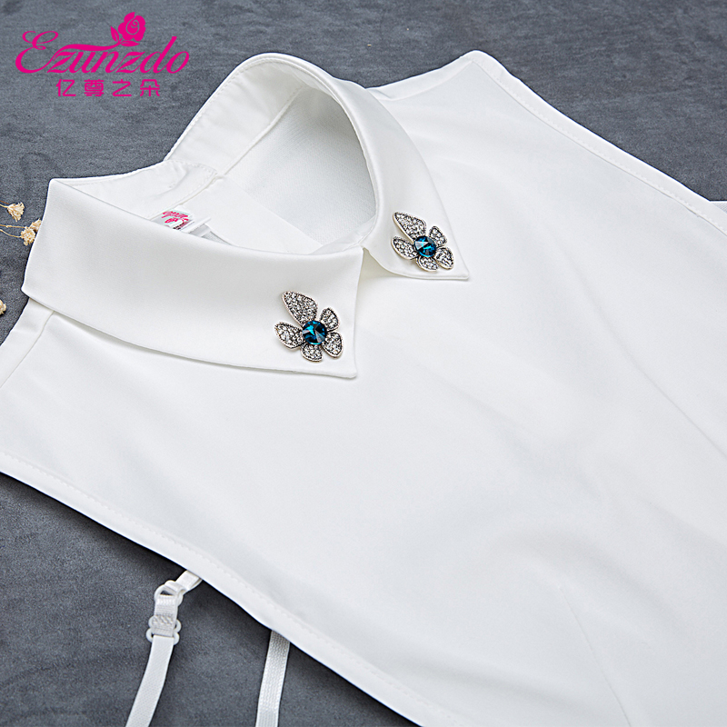 Hundreds of millions of duo of respect for the korean version of a solid color shirt collar fake fake collar decorative collar false collar false collar female models wild water drilling In autumn and winter