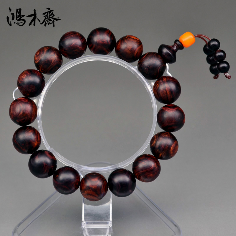 Hung vegetarian hainan yellow rosewood bracelets 14MM grimace sea yellow bracelets solitary