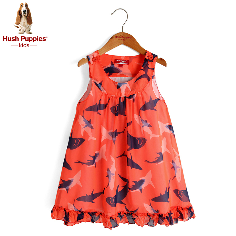 Hush puppies brand children's clothing girls harness dress 2016 summer new big boy snow textile printing cute clearance