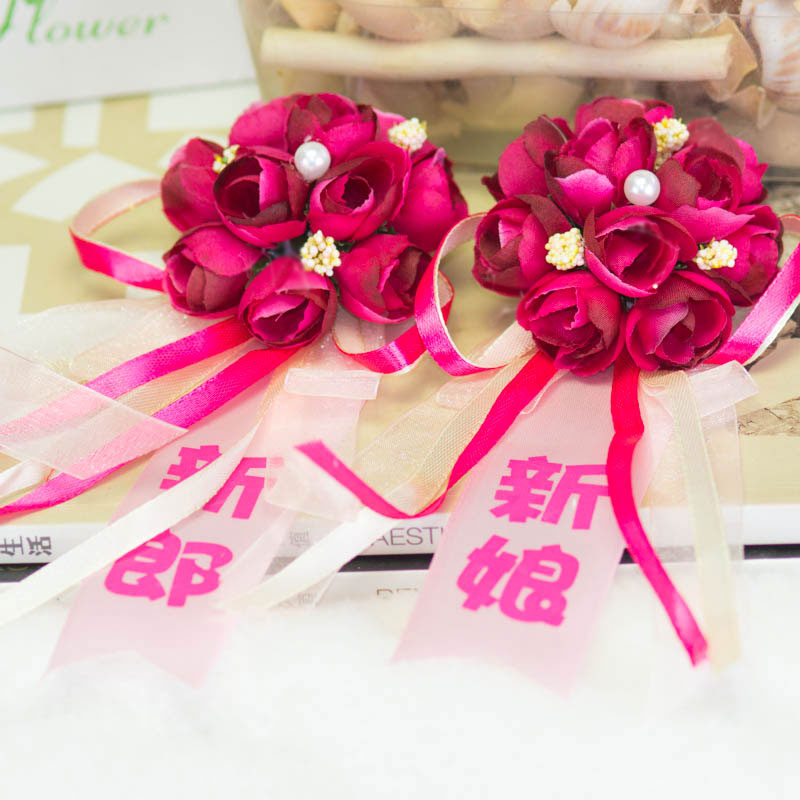 I got married korean wedding corsage wedding supplies props couple bride and groom boutonniere corsage simulation