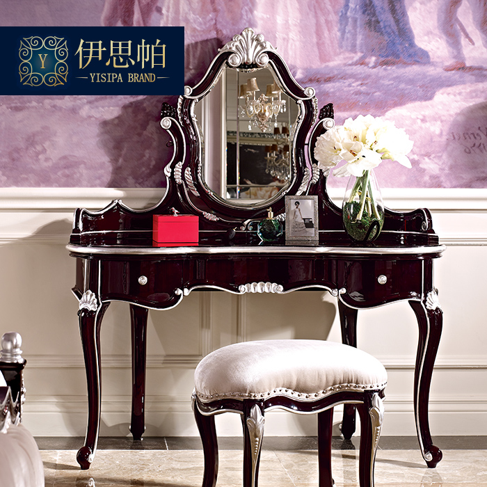 Ian par villa furniture european solid wood carved neoclassical bedroom dresser storage box princess dressing table