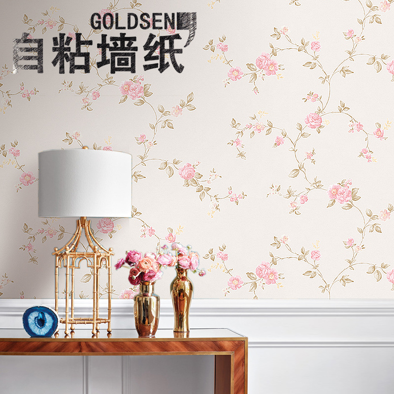 Idyllic small floral nonwoven wallpaper adhesive 3d stereoscopic wall stickers thick waterproof bedroom home backdrop wallpaper