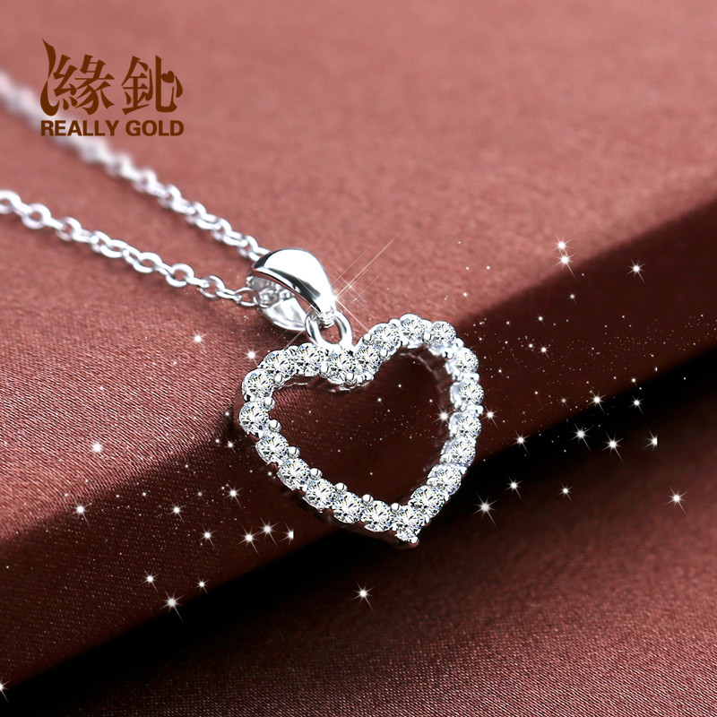 Igs edge silver 925 silver heart pendant necklace female short paragraph korean decorative silver jewelry clavicle chain accessories