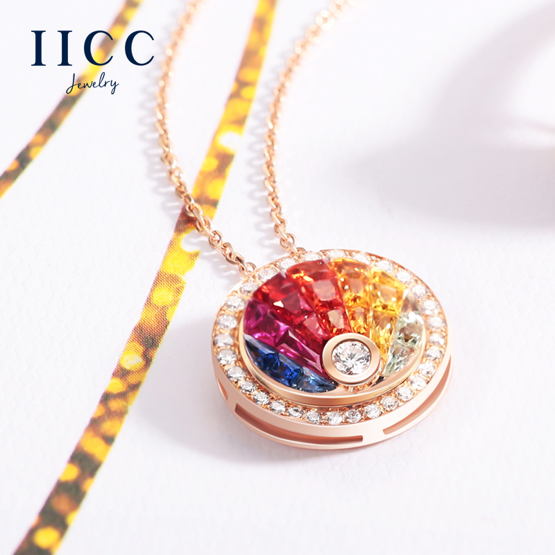 IiCC18K sapphire pendant gold necklace female rose gold inlay diamond 0.86 karat gradient color clavicle chain