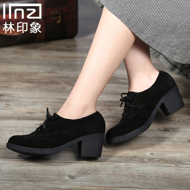 Iinzi notation of genuine literary sen female college department of retro turn fur suede leather in shoes with thick with lace shoes singles