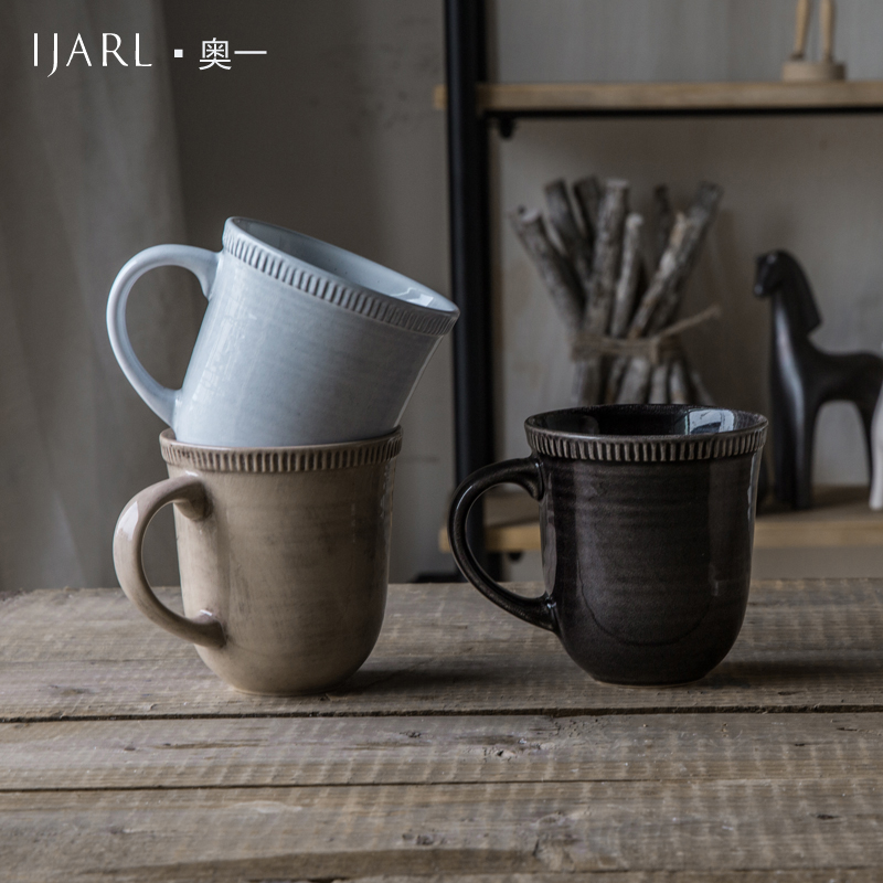 Ijarl billion ka american retro mug cup coffee mug cup breakfast cup juice cup milk cup ceramic cup