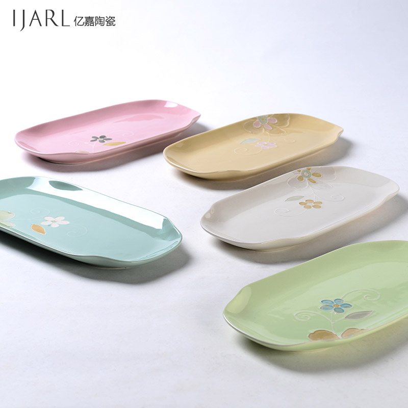 Ijarl billion ka ceramic plate rectangular flat plate japanese sushi dish dish dish fruit plate single loaded yayun