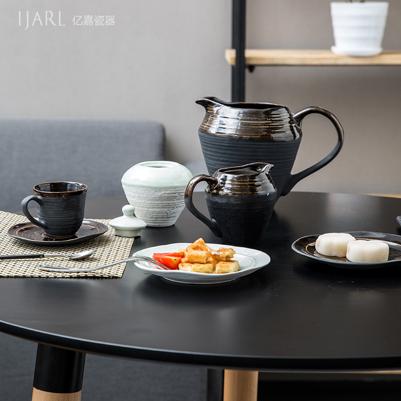 Ijarl billion ka creative european household ceramic tea coffee tea cup and saucer suit minimalist fan fog forest
