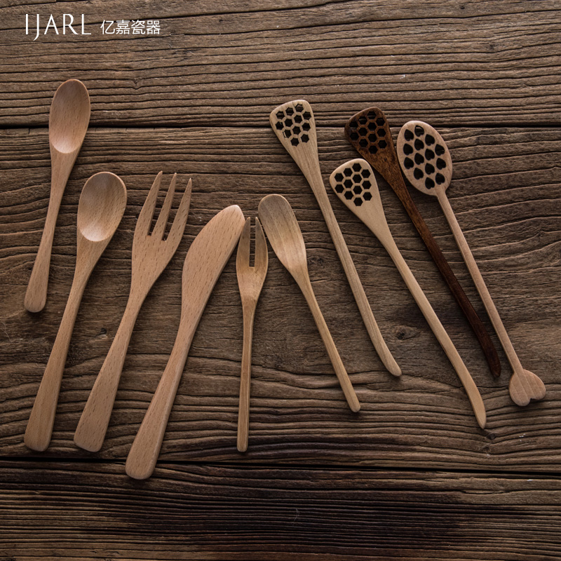 Ijarl billion ka creative home wood logs beech superba skillet small spoon of honey spoon knife and fork spoon suit