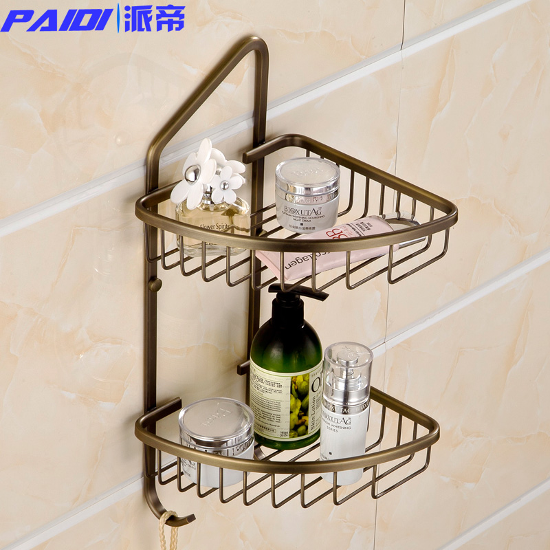 Imperial faction bathroom all copper art european antique bathroom shelf corner shelf double triangle basket with hook