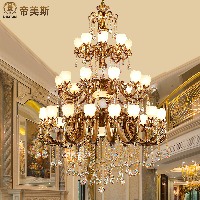 Imperial mae natural marble crystal multilayer hollow villa double staircase chandelier lamp living room lights all copper chandelier