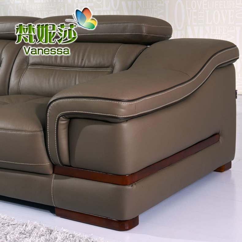 Imported cowhide leather sofa leather sofa living room combined size of apartment in the thick leather corner leather sofa