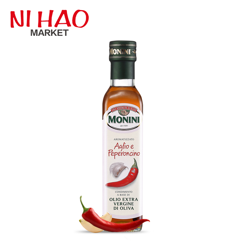 Imported from italy monini virgin garlic chili olive oil edible oil shipping 250 ml/bottle