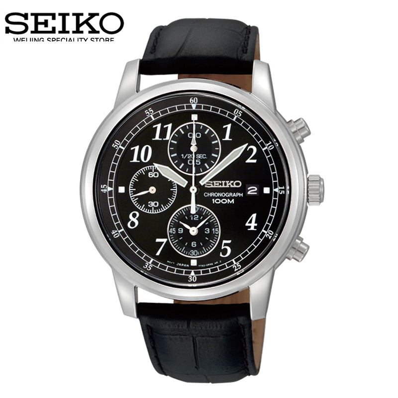 Imported from japan seiko seiko watches luminous waterproof leather strap quartz chronograph men's leisure sndc33j1