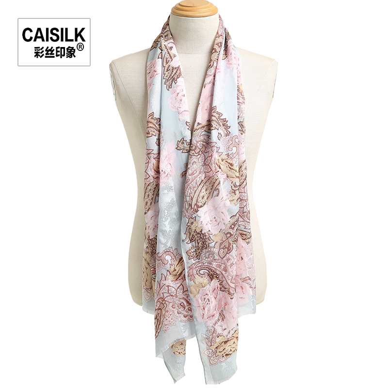 Impression palace retro print silk scarf female winter long scarf silk scarf shawl dual