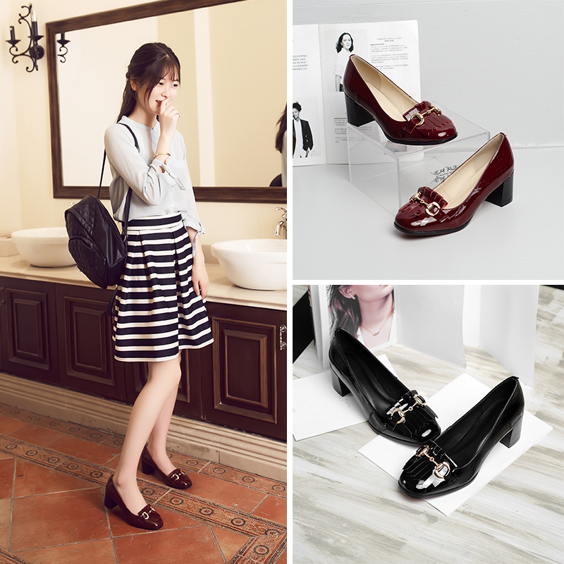 In spring and autumn shoes women tassel 2016 new round leather stiletto shoes shallow mouth patent leather korean version of the wild