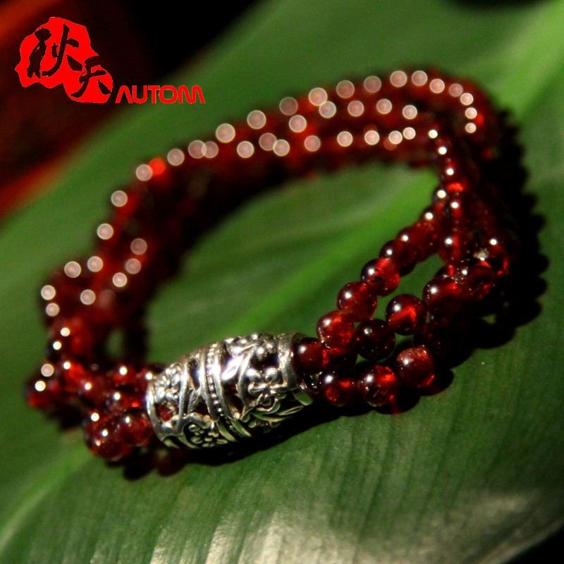 In the autumn of natural burgundy garnet beads multiturn bracelets female models with 925 silver bracelet jewelry free shipping