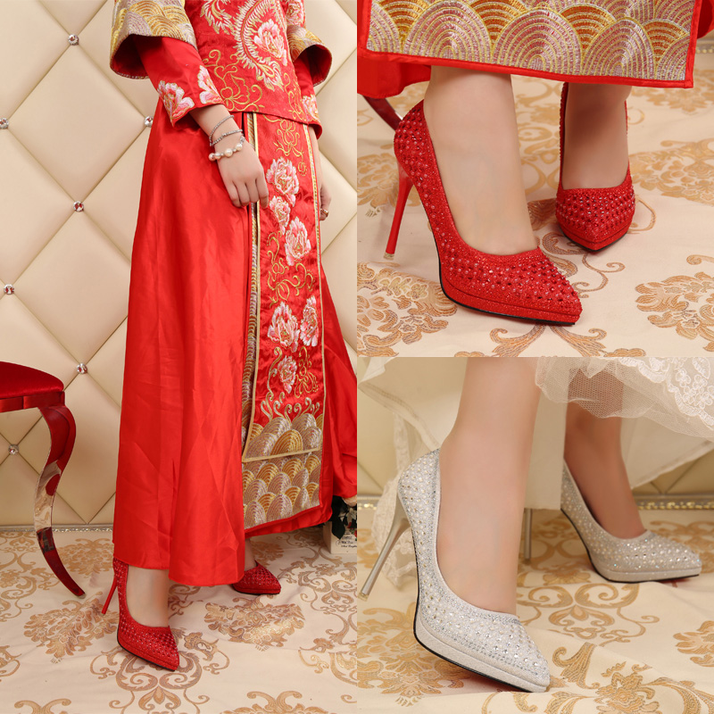 In the fall of super high heels shoes diamond wedding shoes red bridal shoes white wedding shoes wedding dress shoes women shoes
