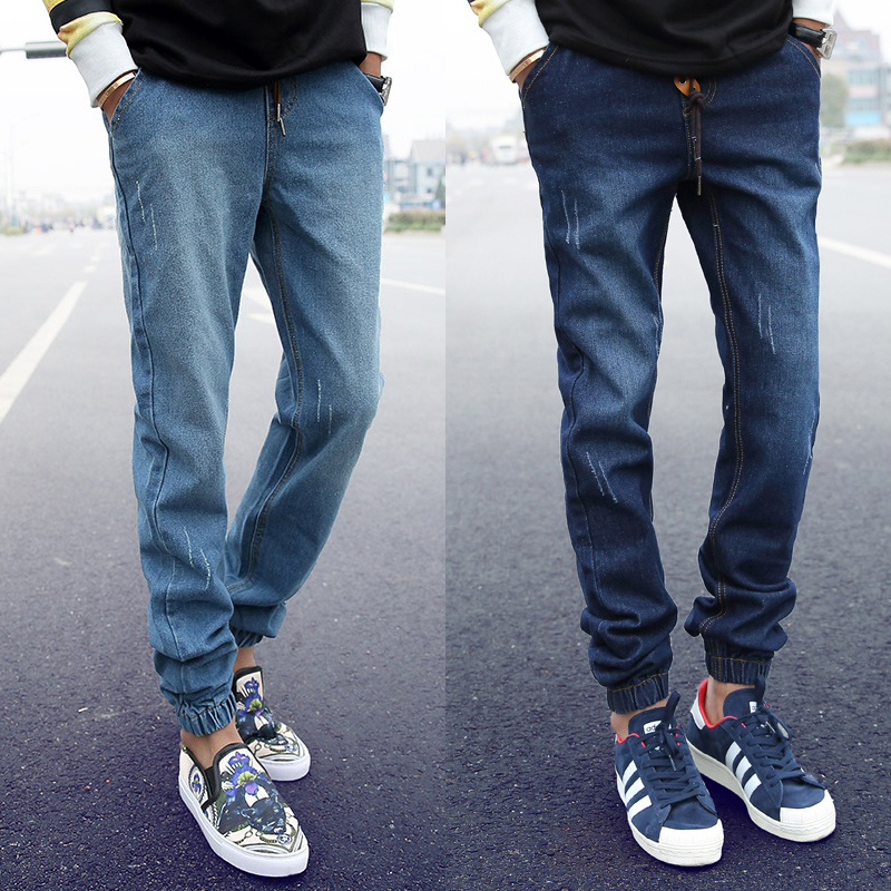 In the spring of closing leg trousers jeans male taxi fertilizer xl elastic beam leg pants long pants feet pants influx of men Pants
