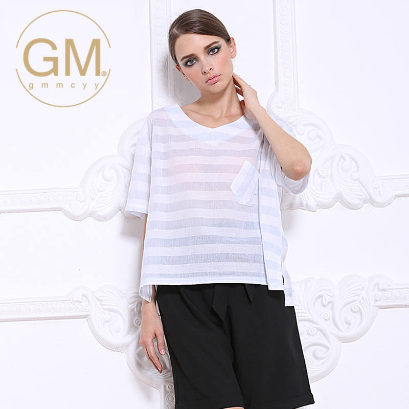 In the summer of gmmcyy european and american casual elegant lady temperament comfortable striped short sleeve large size women 1005