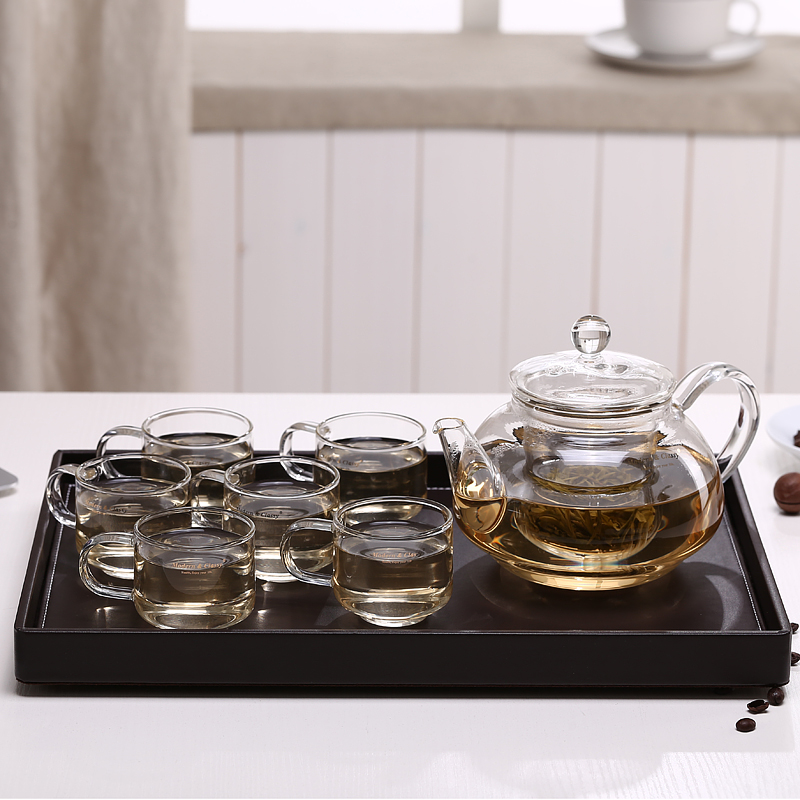 In the terai zi entire glass tea sets kung fu tea transparent filter cup flower pot heating gift set group