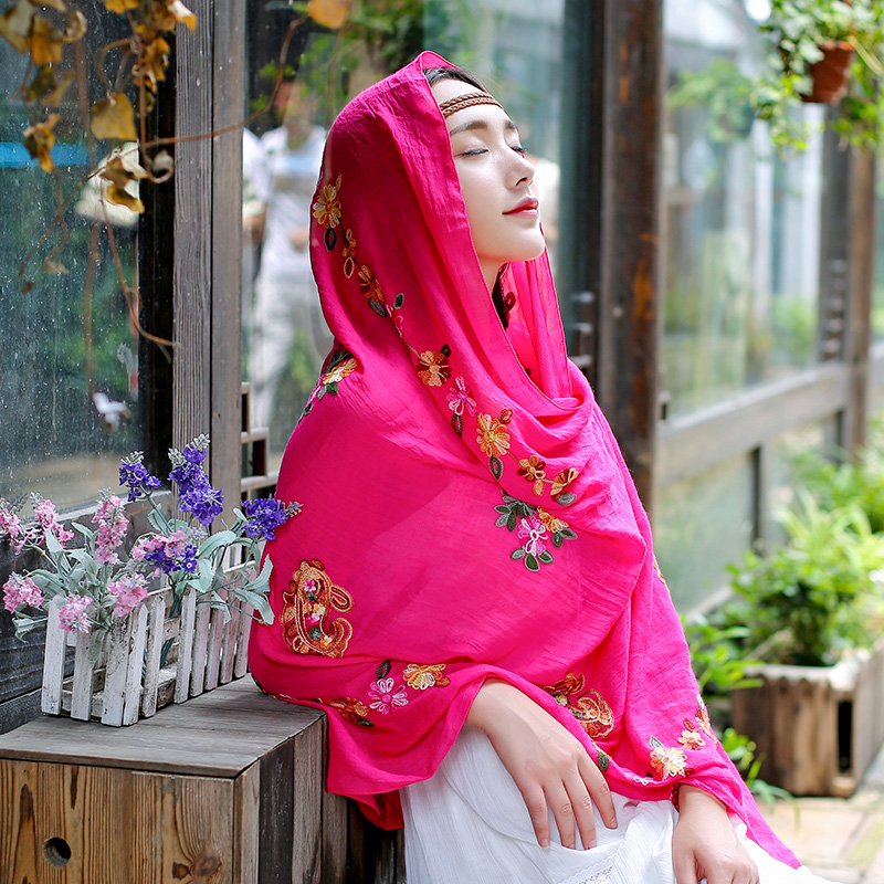 India and nepal ethnic style embroidery flower cotton scarf shawl dual female spring and summer scarves literary autumn