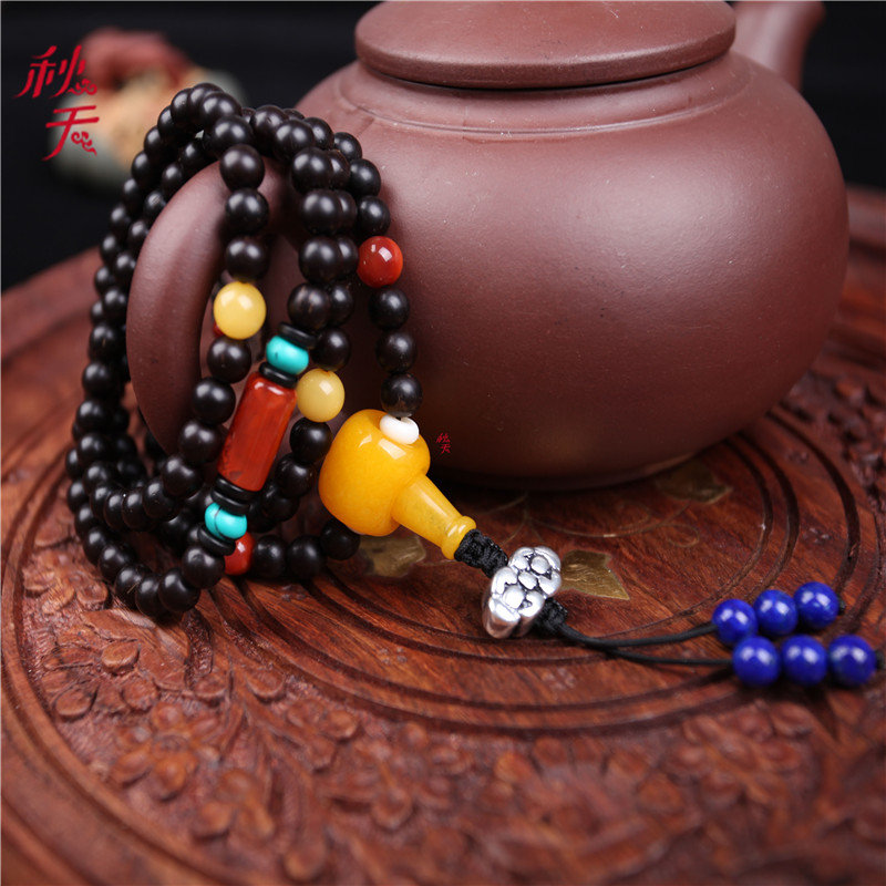 Indonesia old material natural coconut coir pedicle 108 prayer beads bracelet bracelets rosary beads apple orchard