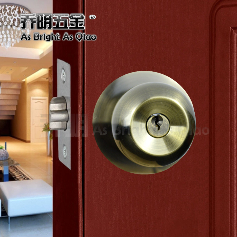 Indoor 304 round bronze lock the doors spherical ball lock the bedroom door handle lock ball lock lock the bathroom door lock free shipping