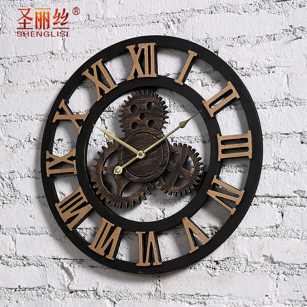 Industrial loft style retro gear put personality living room decorative wall clocks creative home decorative wall clock