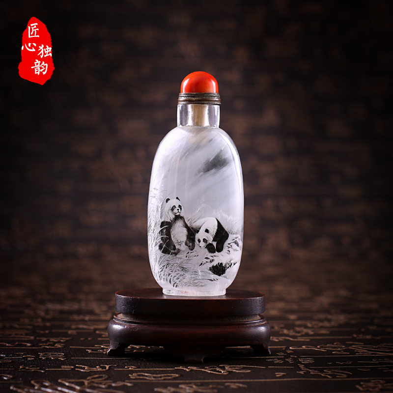 Ingenuity alone rhyme natural crystal snuff bottle inside painted collections david panda