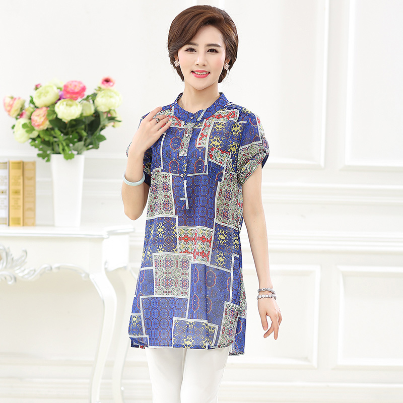 Ink girl 2016 summer new middle-aged mother dress middle-aged women 40-50-year-old printing loose long shirt