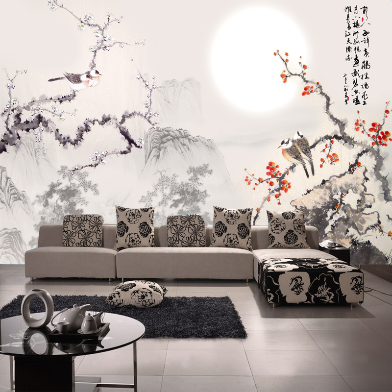 Ink plum bird chinese wovens seamless wallpaper mural custom wallpaper background wallpaper the living room sofa shipping
