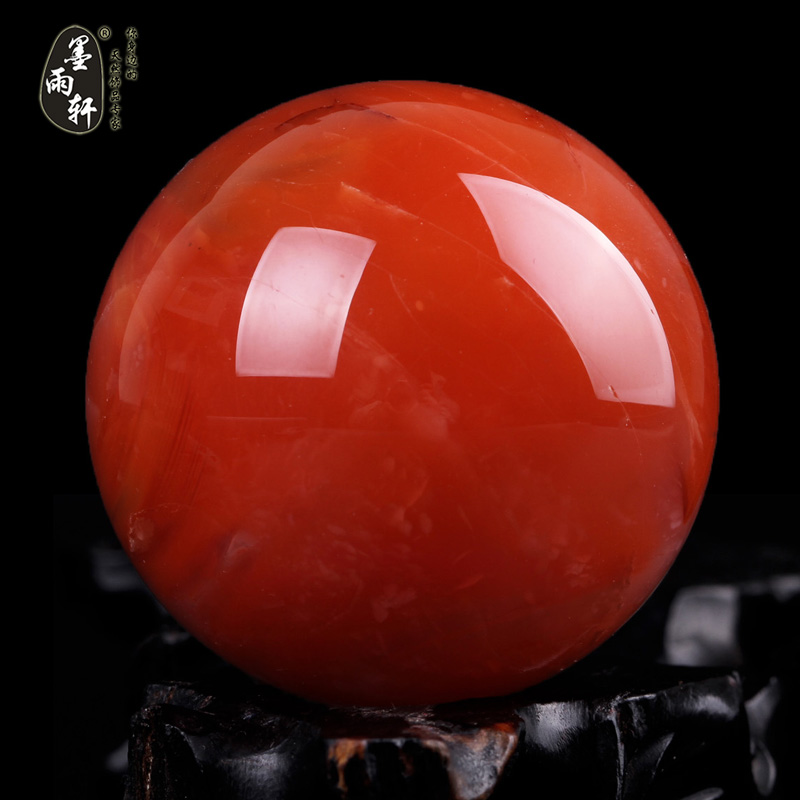 Ink yu xuan natural liangshan south persimmon red flame pattern south onyx original stone feng shui ball 43mm large beads no. 2