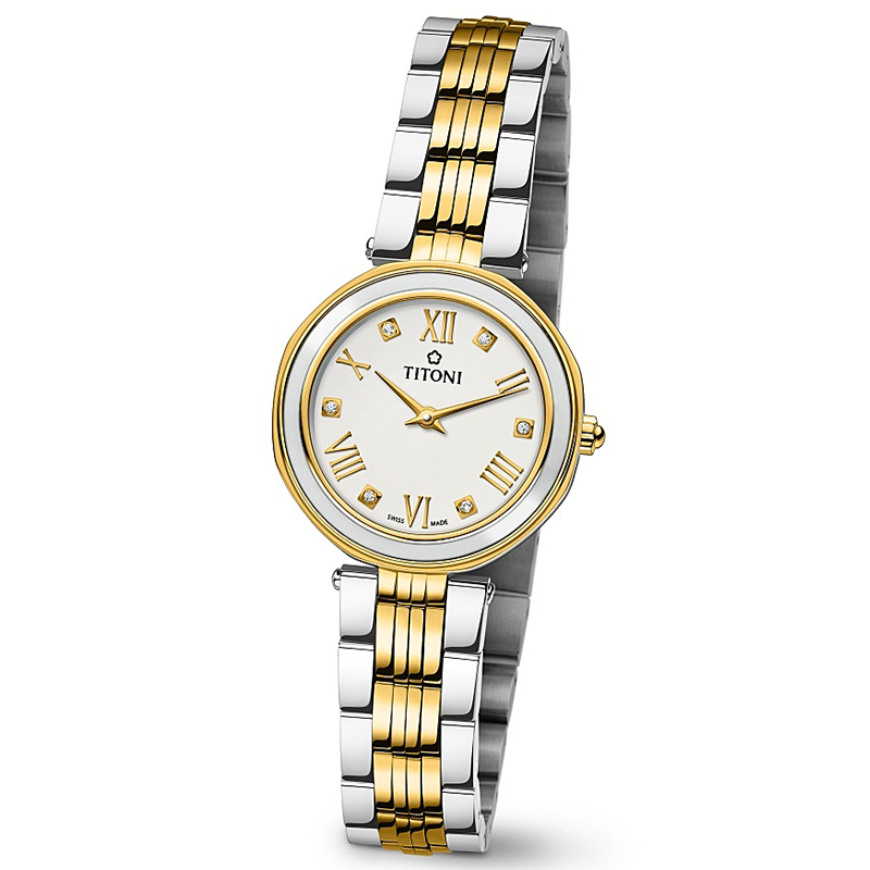 Installment purchase swiss sika TQ42938-SY-W-548 gold-plated i titon business quartz watches female form