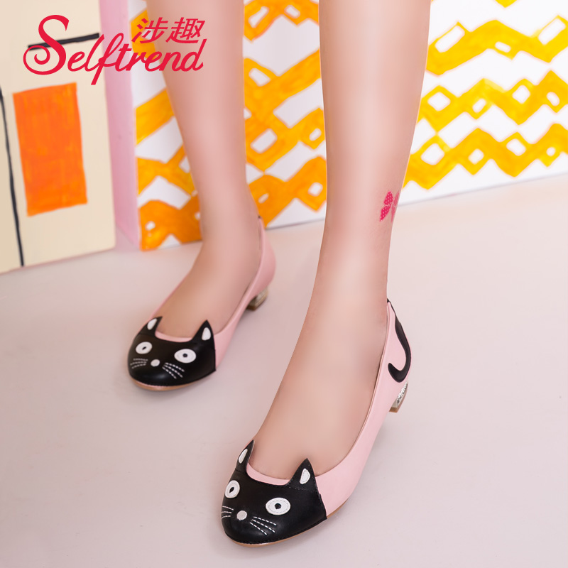 Interest involving 2015 new spring spell color round shallow mouth flat shoes with flat shoes cute little kitty W51062