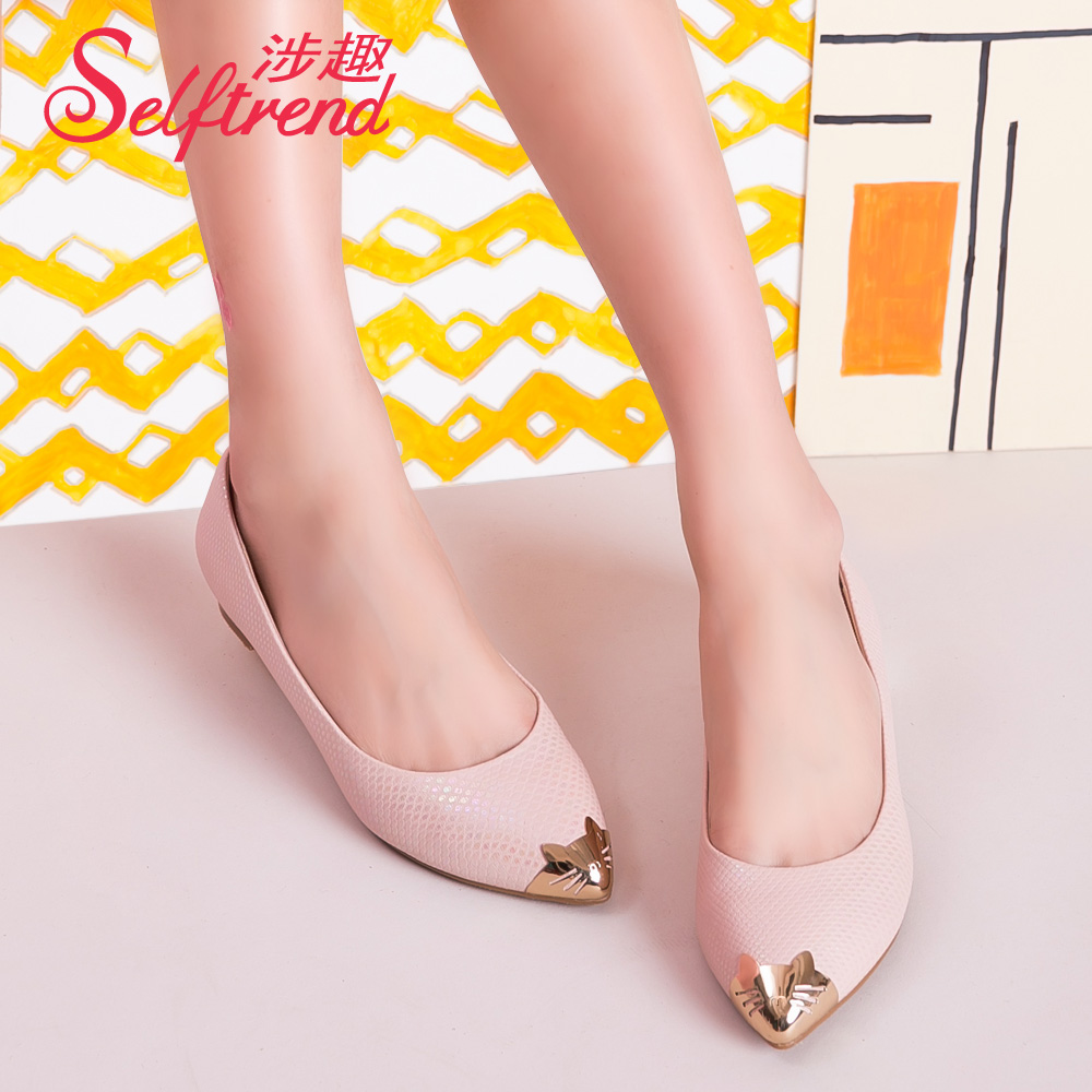 Interest involving 2016 new spring pink kitty cute metal pointed flat shoes women shoes shallow mouth boat shoes