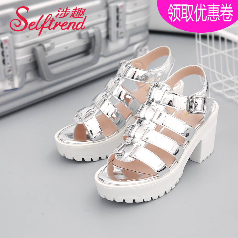 ec556c5c7a5d4 Get Quotations · Interest involving 2016 summer new korean fashion shiny  metal shaped with thick with roman style sandals