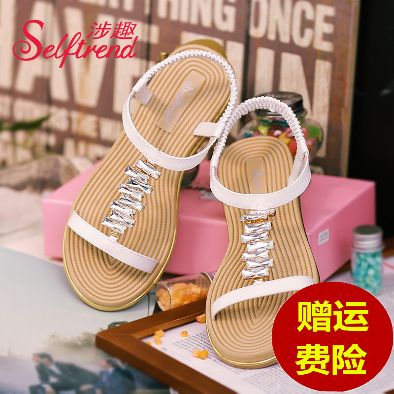 4e08f445c7bb8 Get Quotations · Interest involving female sandals summer new korean fashion  chain diamond flat sandals open toe shoes