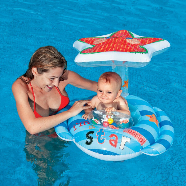 Intex children's baby infant swimming bath seat shade starfish races armpit circle spare tire sitting circle floating ring