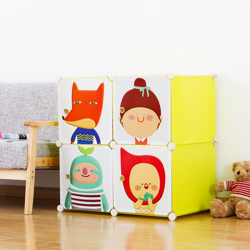 Iraq home light cartoon baby infant child children simple wardrobe ikea wardrobe combination plastic assembly wardrobe